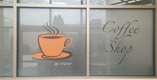 Coffee Shop logo made from window film